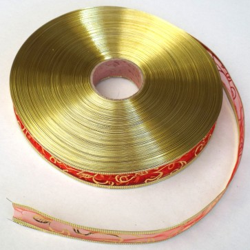 """Weedoo 101 yards Metallic Wired Edge Woven Lame Glitter Ribbon 1"""" Christmas Wrapping - Gold"""