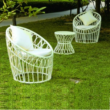 Weedoo 3 Unit Outdoor Garden Patio Wicker Rattan Effect Furniture Table Chairs Set