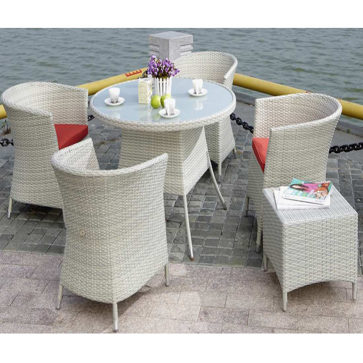 Weedoo 6 Unit Outdoor Garden Patio Wicker Rattan Effect Furniture Table Chairs Set