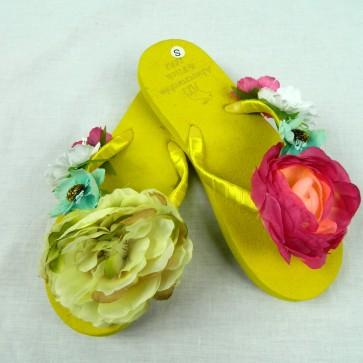 Weedoo New Ladies/Women's/Kids Flip Flop  Mix & Match Casual Fashion Flat Sandal [Yellow]