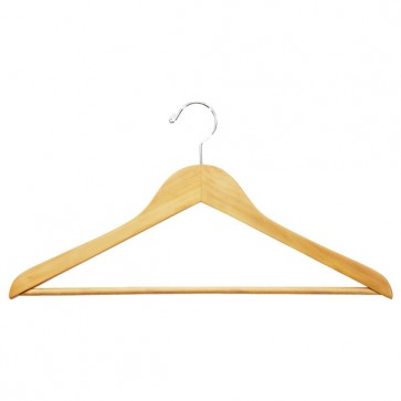 Wooden Suit Hanger with Ribbed Trouser Bar