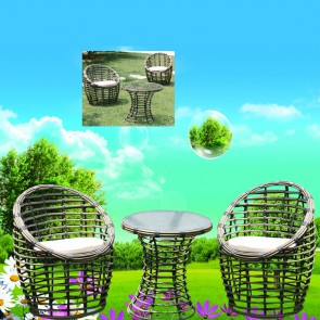 Weedoo Cane Third Style Garden Furniture Set 1 Table and 2 Chairs