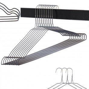Weedoo Strong Notched Galvanized Silver Wire Dress Coat Garment Hanger