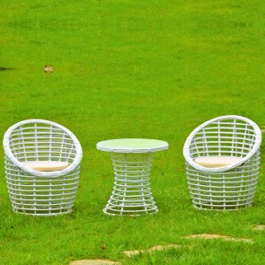 Weedoo Cane Second Style Garden Furniture Set  1 Table and 2 Chairs