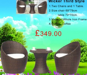 Weedoo Wicker Third Style Garden Furniture Set 1 Table and 2 Chairs
