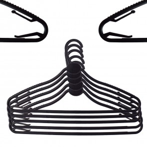 Black Plastic Hanger w/ anti-slip and hooks