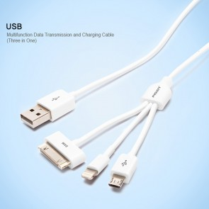 Weedoo PISEN 3-in-1 Micro USB Lightning 30 Pin Charging Cable Android Apple iPhone iPad