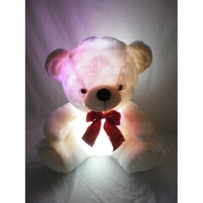 Weedoo Xmas Gift Stuffed WHITE Light Up Teddy Bear Plays Music in Gift Pack Birthday