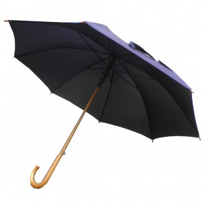 "Weedoo 42"" (107CM) Classic Black Wooden Handle Umbrella"