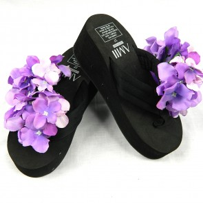 Weedoo New Ladies/Women's/Kids Flip Flop Black High Heel Sandal with Flowers