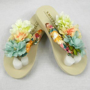 Weedoo New Ladies/Women's/Kids Flip Flop Black XMISTUO Beige Flat Sandal with Flowers